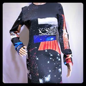 Space Galaxy Moon Body Con Scuba Dress 8-10 /Large